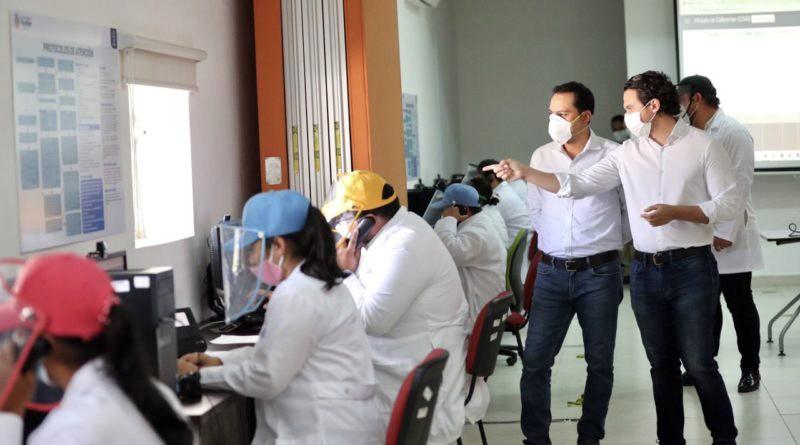 Supervisa Vila Dosal el Centro de Atención Telefónica, sistema para prevenir el Covid-19