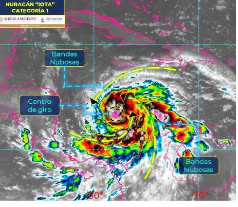 """El huracán """"Iota"""" a 1,275 km de Quintana Roo"""