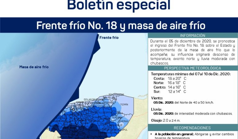 Más frío y lluvias para Yucatán