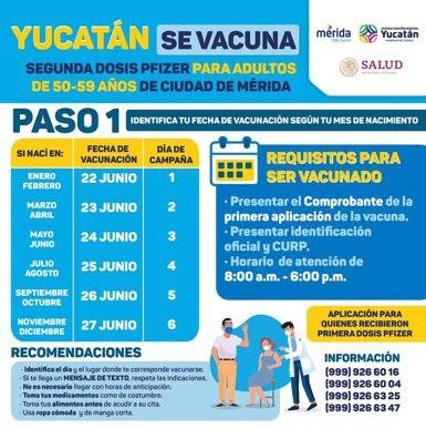 El martes 22 inicia en Mérida la segunda dosis de vacunación a personas de 50 a 59 años